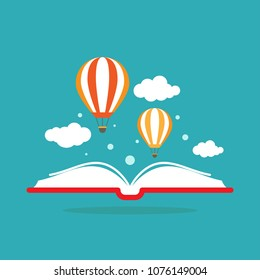 Open book with air balloon and clouds isolated on blue background. Vector flat illustration. Magic fairytale reading logo. Imagination and inspiration picture. Fantasy. Creative kids