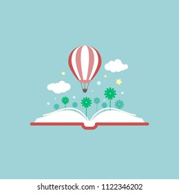 Open book with air balloon and clouds isolated on blue background. Vector flat illustration. Magic fairytale reading logo. Imagination and inspiration picture. Fantasy. knowledge day. Back to school