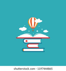 Open book with air balloon and clouds on book stack. Education vector flat illustration. Magic fairytale reading logo. Imagination and inspiration picture. Fantasy. knowledge day