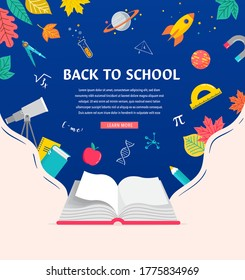 Open book, back to school concept illustration with supplies icons and books. Vector background design