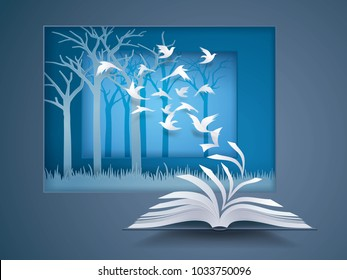 Open book with Bird flying from it, Paper Pages Change to birds fly into the forest, Back to nature, Ecology clean world, Environment friendly, freedom, ecological concepts, Paper art vector
