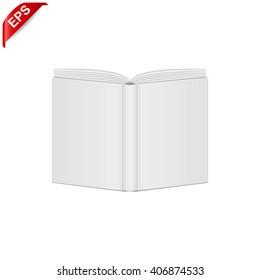 open book blank cover, vector mock up open book cover, isolated mockup opened book cover