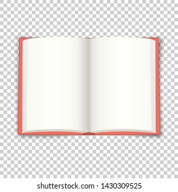 Open book. Blank template for illustrations, applications and programs with text. Realistic vector layout with shadows on a transparent background. Open in the middle book with cover and blank sheets.
