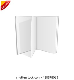open book blank, vector mock up open book, isolated mockup opened book