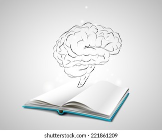 Open book with a blue cover. Isolated human brain sketch. Doodle. Planning. Brainstorming. Stock Vector Image Picture Icon Illustration.