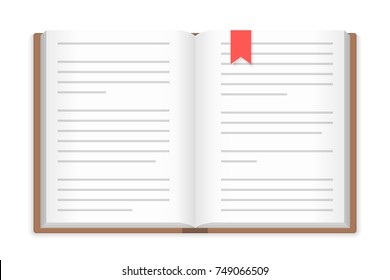 Open book with bookmark, white background, vector eps10 illustration