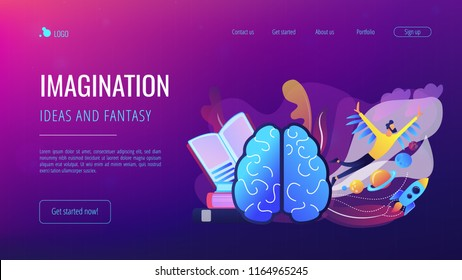 Open book, brain and user flying in space among planets. Imagination, ideas and fantasy landing page. Creative thinking, motivation and inspiration. Vector illustration on ultraviolet background.