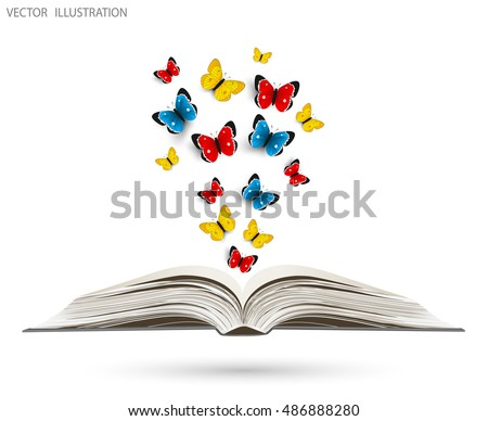 Open book with butterflies flying from it