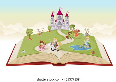 Open book with cartoon princesses and princes in front of a castle.