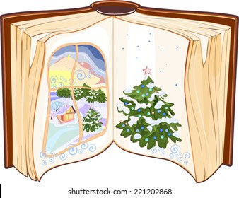 Open book with a Christmas tree and snow-covered window