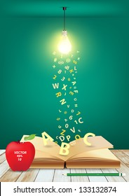 Open book with creative light bulb and falling letters on wood planks, Vector illustration template design