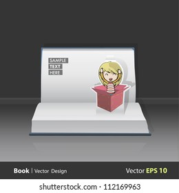 Open book with cute girl in pink box. Vector design. Pop-Up Illustration.