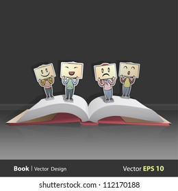 Open book with different emotions.. Vector design. Pop-Up Illustration.