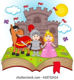 open book with fairy tale - vector illustration, eps