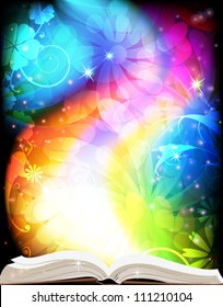 Open book of fairy tales on a rainbow floral background