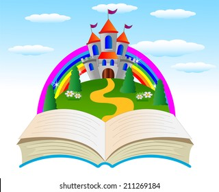 open book with a fairy-tale palace on the fringe of the forest, vector illustration