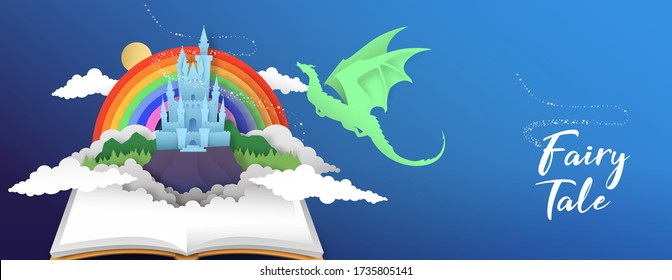 Open book of fantasy fairy tale magic kingdom in paper cut style with dragon and rainbow sky. Medieval land children story, 3d papercut illustration for bookfair event or kid education concept.
