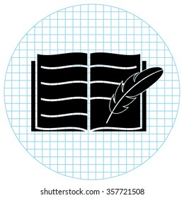 Open book with feather -  black vector icon