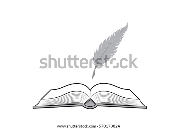 Open Book Feather Pen Drawing Stationery Stock Vector