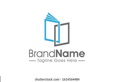 open book flat outline education logo
