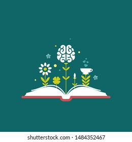 Open book with flowers, brain and sprouts isolated on blue background. Vector flat illustration. Magic fairytale reading logo. Imagination and inspiration. Fantasy. knowledge day. Back to school