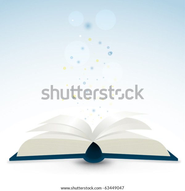Open book with flying particles