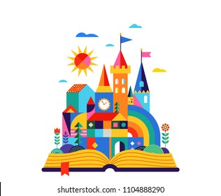 Open book with geometric fairy tale kingdom, knight castle, children room, class wall decoration. Colorful vector illustration