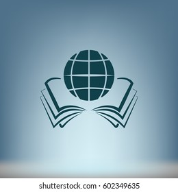 open book and globe icon stock vector illustration flat design