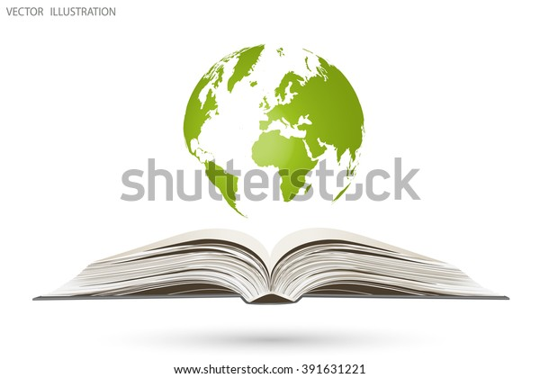 Open book and a globe, vector illustration
