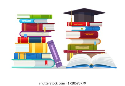 Open book with Graduation cap and stack of books isolated vector illustration. Academic and school knowledge, education and graduation. Reading, encyclopedia. Template for books Shop advertising