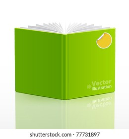 open book with green cover and sticker. Vector illustration.