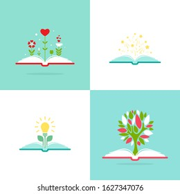 open book with green tree, stars, hearts and bulb.  Flat illustrations set. Reading icon. Vector illustration. inspiration pictogram. Knowledge, study, education, school or course concept.
