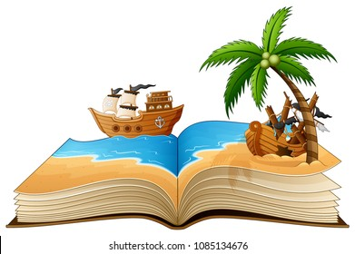 Open book with group of pirate on the beach