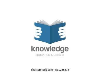 Open Book in Hands Logo design vector template Negative space style. Education Library Knowledge Logotype. Read Journal concept icon.