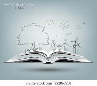 Open book of happy family stories, Vector illustration template design