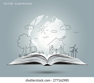 Open book of happy family stories, Vector illustration template design.
