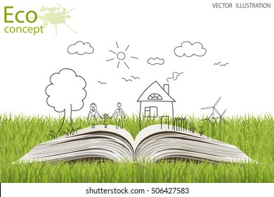 Open book of happy family stories. Ecology concept. Silhouette tree, an open book, family, home, windmill and solar panels on the grass. Ecologically clean world. Vector illustration. Doodle.