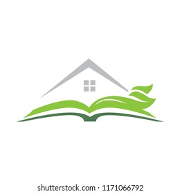 open book with house and green leaves, abstract logo icon