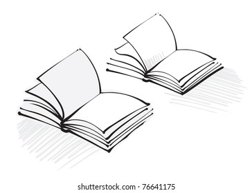 open book icon (freehand calligraphic style)