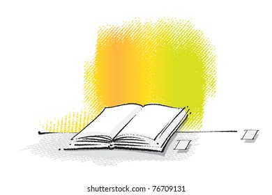 Open book icon (freehand drawing, chalk technique, vector)