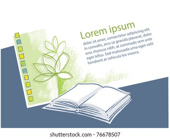 Open book icon, green plant, blank text page layout
