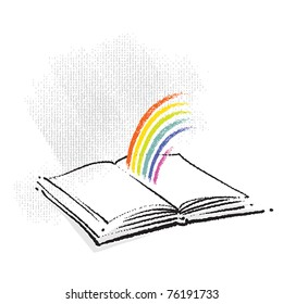 Open Book Icon with a Rainbow