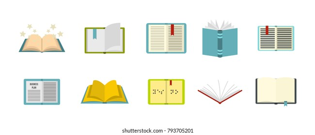 Open book icon set. Flat set of open book vector icons for web design isolated on white background