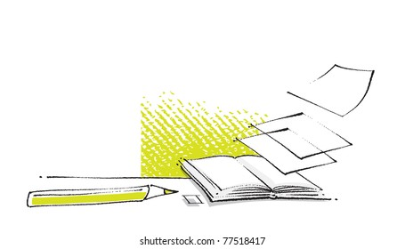 open book icon, stylized, loose sheets of papers added, page layout (freehand illustration, vector)