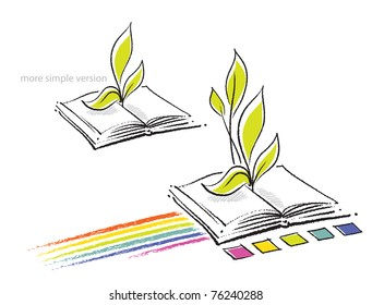 Open book icon (with a rainbow and a plant seedling, two versions)
