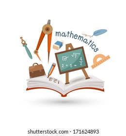 Open book and icons of mathematics. Concept of education