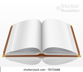 open book with isolated on white. Vector illustration.