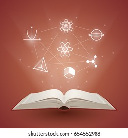 Open book with light coming from it. Knowledge is power. Education and reading concept. Vector illustration