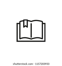 Open book line icon. Literature, bookmark, reading. Wisdom concept. Vector illustration can be used for topics like college, university, education
