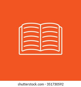 Open book line icon for web, mobile and infographics. Vector white icon isolated on red background.